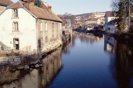 View of city of Pontarlier and Doubs river, Jura, Franche-Comte, France