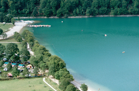 Overview of Chalain lake in Jura in Clairvaux les lacs, France