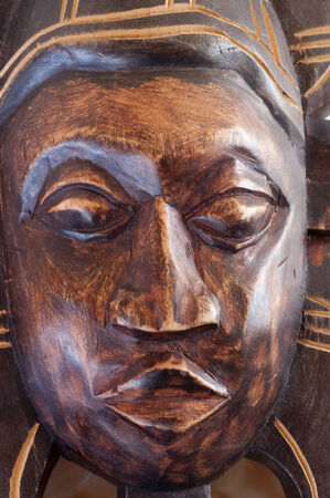 shanti: Close up of Wooden african shanti face mask