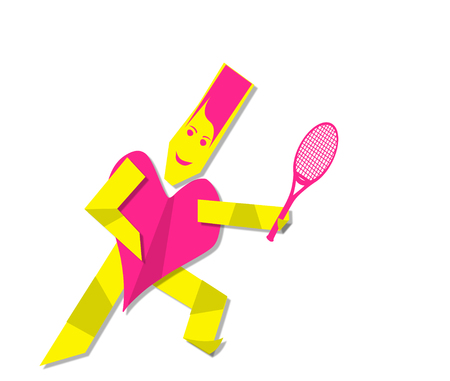 Pink Sportive woman playing tennis