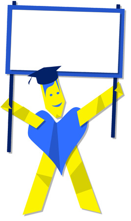 whose: Graduate man whose body is a heart shape holding a white board for yourtext Stock Photo