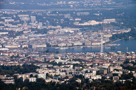 ot: Overview ot town of Geneva and Leman lake in Europe Stock Photo