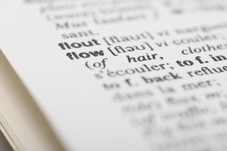 definitions: Close up of word dictionary Flow was
