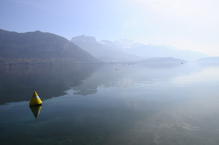 an overview: Overview of Lake of Annecy and Forclaz mountain, in France