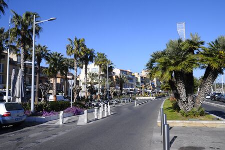 toulon: Village of Bandol main street, is ash and palm trees, France