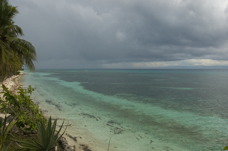 green sea: Stormy day on green sea in Siquijor Island Philippines