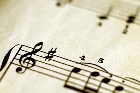 partition musique: Close up piano score et des notes de musique et de vieux papier