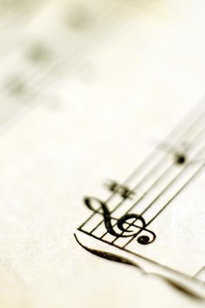 Close up piano score et des notes de musique et de vieux papier