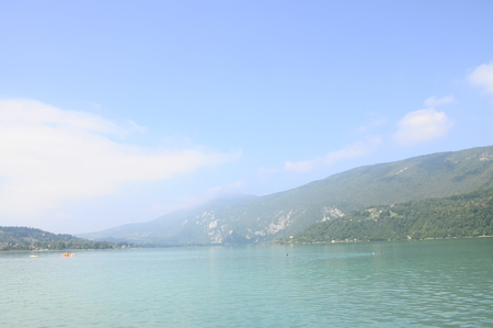 lac: Scenic view of Aiguebelette lake on morning, in Savoy, France