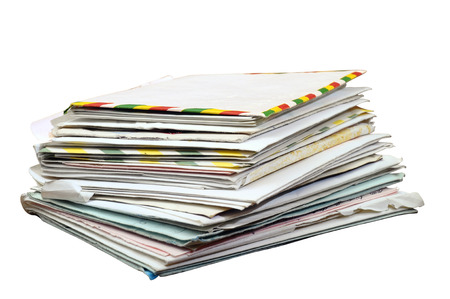 old letters: Pile of old mails letters and envelopes isolated on white background, with clipping path Stock Photo