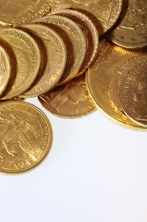 loot: Close up of a stock of Gold french and american coins