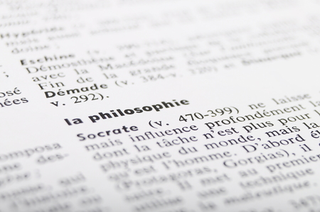 Close up of french dictionary at the word Philosophy