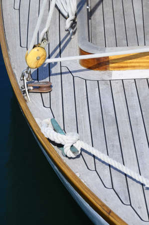 moorings: Close up of Wooden boat, ropes and moorings Stock Photo