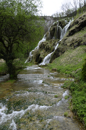 jura: View of Baumes Les Messieurs waterfall in Jura, France Stock Photo
