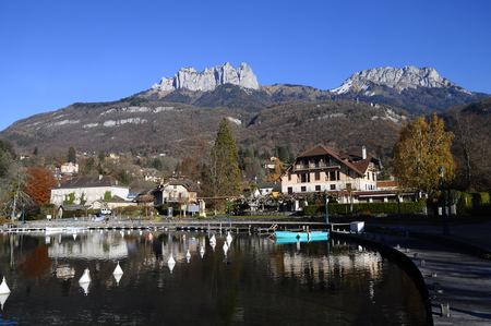 savoy: Landscape of Annecy lake and mountains in Savoy, France