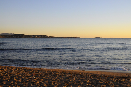 toulon: Sunset Mediterranean sea landscape in south france, near Bandol