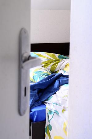 mess: View through open door upon View upon mess in bedroom