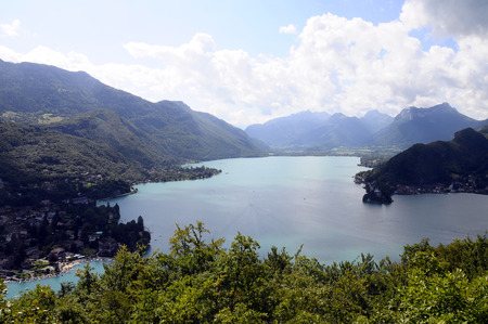 savoy: Overview of annecy lake, from Talloires to Doussard and mountains, in Savoy, France Stock Photo