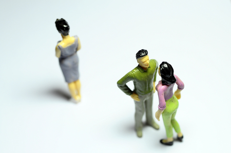 argument from love: Miniature Man chatting with woman, and single woman turning back