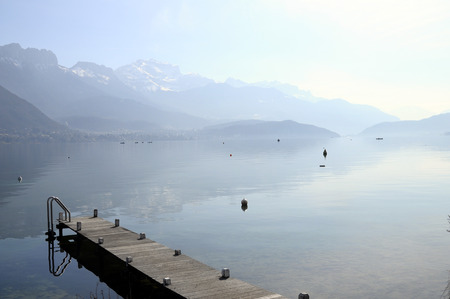 an overview: Overview of Lake of Annecy and Forclaz mountain, in france Stock Photo