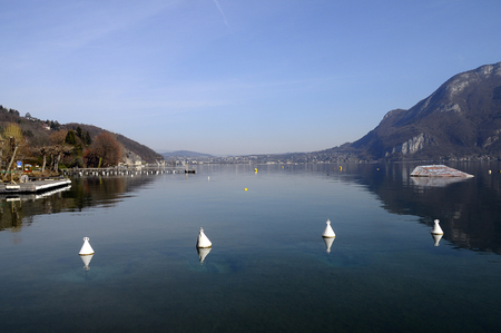 Overview of Lake of Annecy and Forclaz mountain, in france Stock Photo