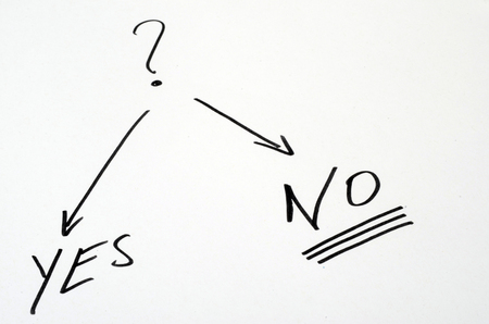 interrogative: Question and yes or non written on white sheet Stock Photo