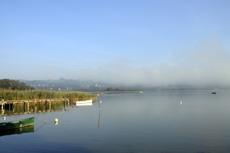 savoy: Scenic view of Aiguebelette lake on morning, in Savoy, France