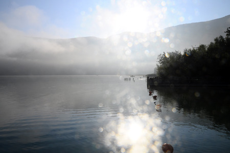 scenic view: Scenic view of Aiguebelette lake on morning, in Savoy, France