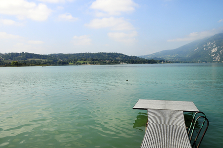 Scenic view of Aiguebelette lake on morning, in Savoy, France