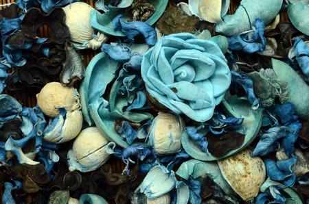 potpourri: Blue potpourri background : dried petals and spices