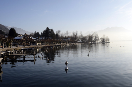 Annecy lake in Veyrier Stock Photo