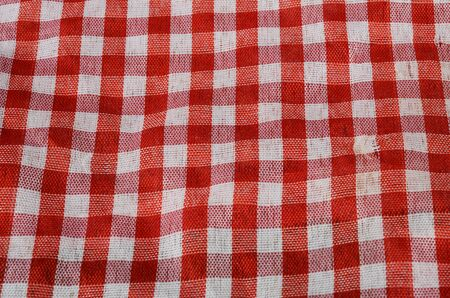 gingham: Red Gingham vichy cloth, details of fabric