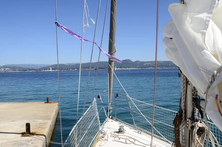 toulon: Embiez island landscape and front of sailboat near Bandol, french riviera and mediterranean sea, France