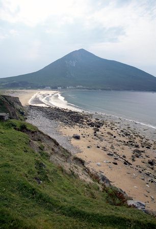 Sea, beach and mountains, Achill island landscape, Ireland