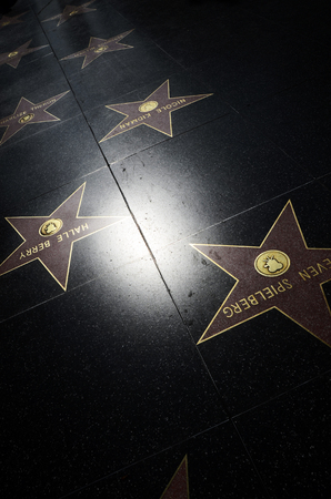 Hollywood stars, walk of fame on Hollywood street in Los Angeles, USA