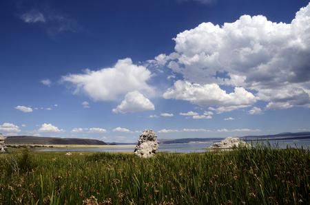 Mono salt lake and tufa landscape, in Sierra Nevada, USA