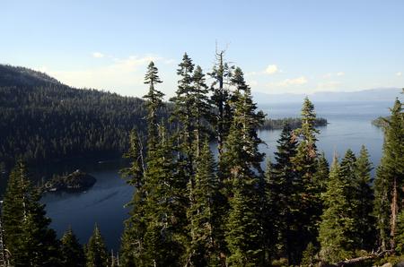 Blue lake Tahoe landscape and mountains, Nevada, California, USA