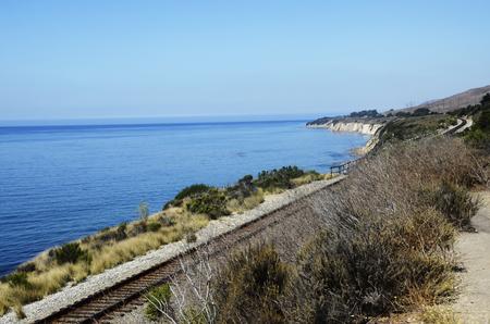 californian: Californian coast and railway landscape, pacific view, USA