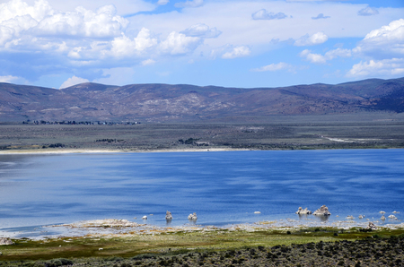 Mono salt lake and tufa landscape, in Sierra Nevada, USA