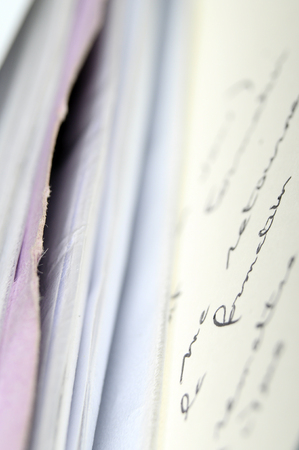 Pile of documents and letters, hand script and blur effect