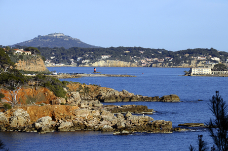 Bandol bay, Faron mount, Bendor island, landscape on french riviera, France