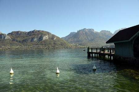 Annecy lake and mountains from Sévrier pier, France Stock Photo