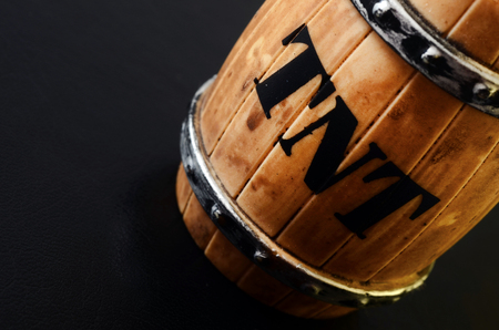 TNT barrel toy object detail on black background