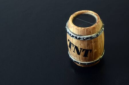 TNT barrel toy object detail on black background