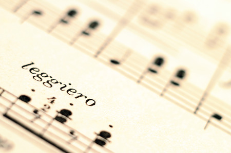 Piano music score and leggiero word