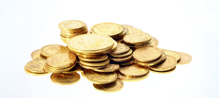 Gold coins : stock of french and american golden coins Stock Photo
