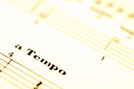 Piano music score and tempo word and old paper