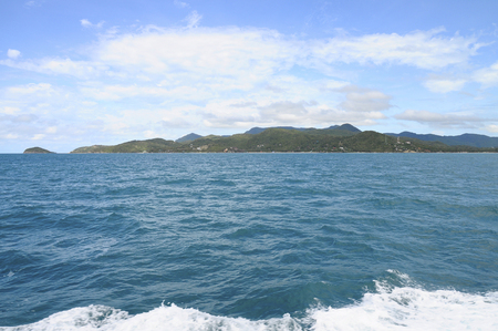 View from ferry boat upon beautiful Koh Phangan island in Thailand
