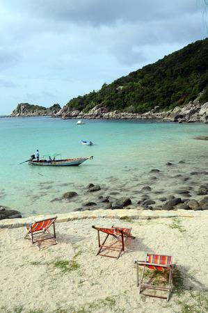 Morning on sandy beach of Ao Leuk in Koh Tao island, Thailand