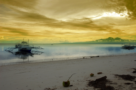 Beach and boats landscape on Siquijor island, Philippines
